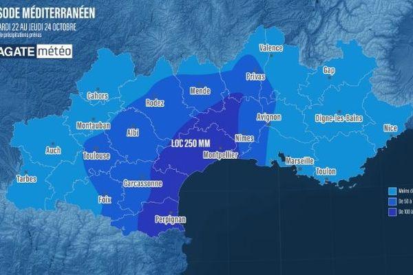Les précipitations deviennent intenses en ce moment dans l'Hérault - 22 octobre 2019