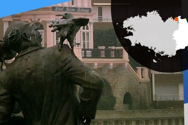 La statue d'Alfred Hitchcock règne sur Dinard