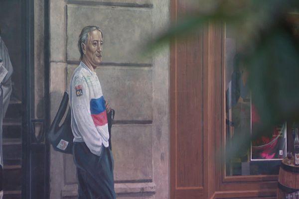 Bernard Lacombe présent sur la fresque des Lyonnais célèbre, dans le 1er arrondissement de Lyon