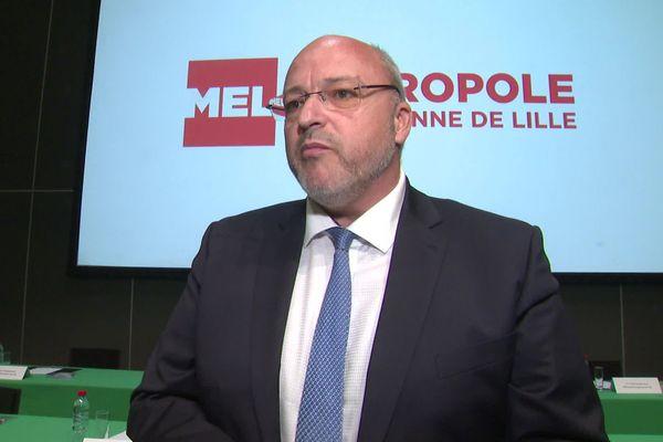 Damien Castelain ce jeudi après son élection à la présidence de la MEL