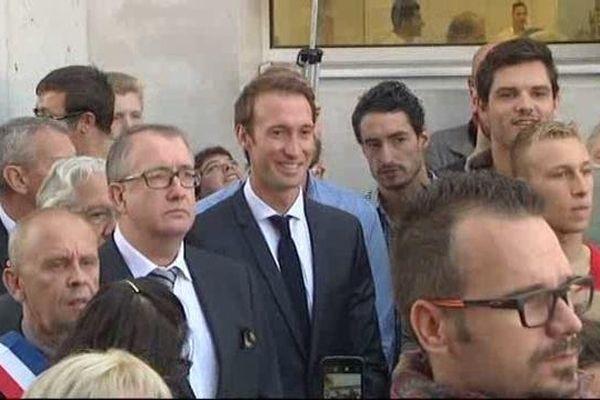 Fabien Gilot (et Flaurent Manaudou, au fond à droite), à Douchy-les-Mines, samedi 24 septembre.