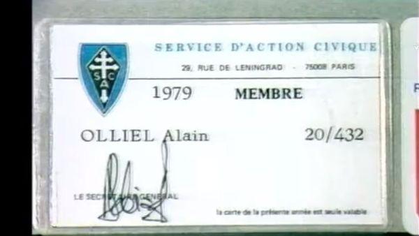 La carte de membre du SAC d'Alain Olliel.