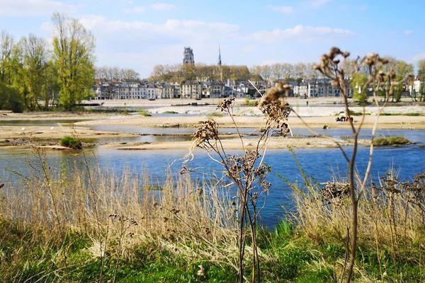 La cathédrale vue des bords de Loire d'Orléans.