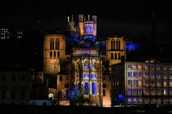 Fête des Lumières à Lyon le 8 décembre 2020 -Illumination de la colline de Fourvière à Lyon pour la Fête des Lumières. / © MAXIME JEGAT / MAXPPP