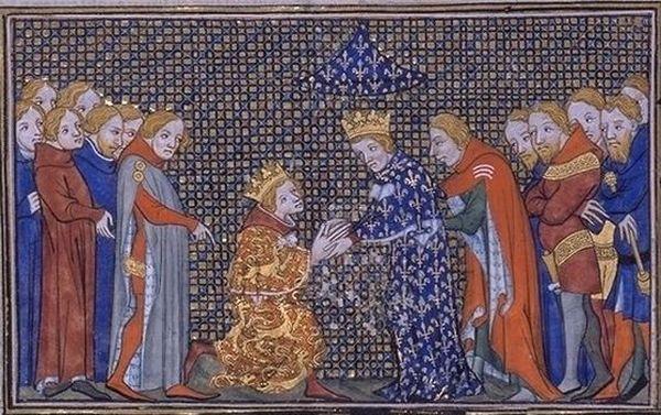 Edouard III (à genou à gauche) rendant hommage à Philippe VI (à droite) pour la Guyenne.