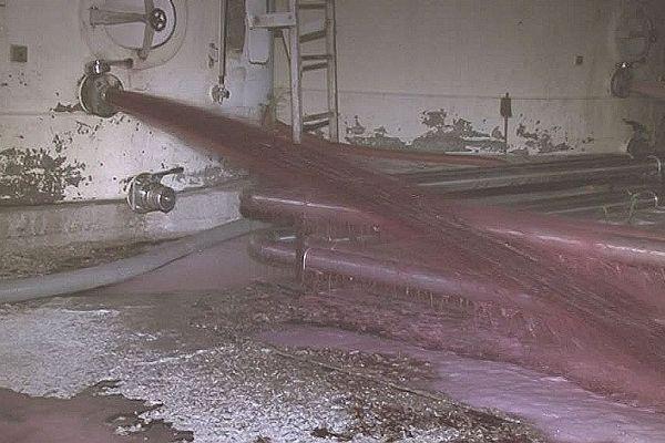 Sète (Hérault) - A l'intérieur de l'entreprise Biron, le vin s'échappe à flots des cuves du négociant - 2 août 2016.