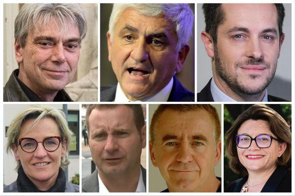 Régionales 2021 en Normandie : les 7 candidats déclarés de gauche à droite : Sébastien Jumel, Hervé Morin, Nicolas Bay, Mélanie Boulanger, Laurent Bonnaterre, Pascal Le Manach et Stéphanie Kerbarh photos : MAXPPP