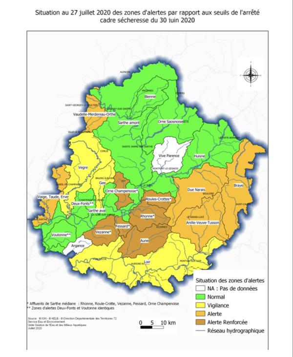 Zones d'alerte en Sarthe au 27 juillet 2020