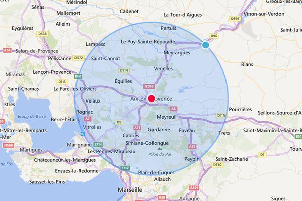 Voici votre zone de sortie autour d'Aix-en-Provence dans la limite de 20 km.