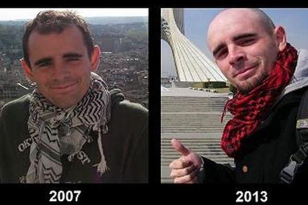 Jérémy Marie, au début et à la fin de son tour du monde en auto-stop depuis Caen