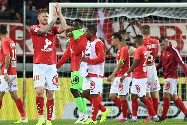 L'attaquant brestois Gaetan Charbonnier, auteur du but face à Reims lors de la 3e journée de championnat de ligue 1 ay =u stade Francis le Blé - 24/08/2019