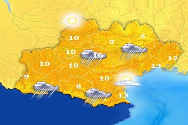 Carte des températures prévues - dimanche 28 octobre 2012.