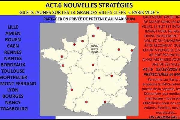 Carte établie par des gilets jaunes pour préparer l'acte IV samedi 22 décembre.