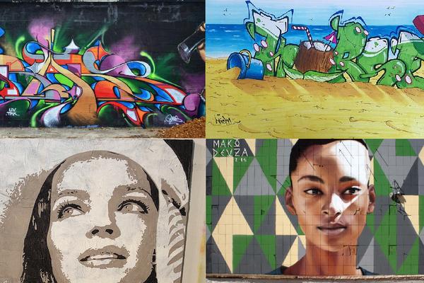 En haut à gauche, un graff de Babs et à sa droite, de Micka. En bas à gauche, une oeuvre de Fabrice Martinez et à sa droite, de Mako Deuza