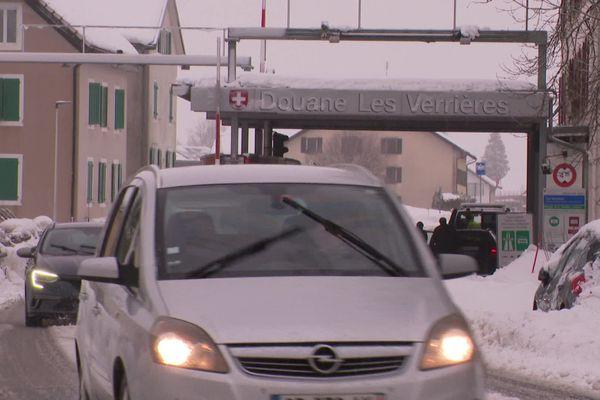 La frontière franco-suisse aux Verrières de Joux, près de Pontarlier dans le Doubs, le 14 janvier 2021