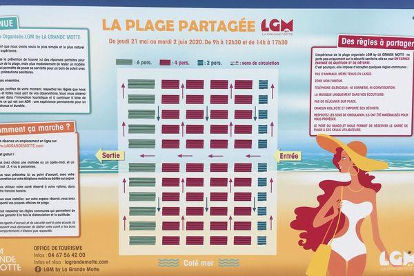 La Grande-Motte (Hérault) - la plage partagée avec réservation gratuite sur internet fait un tabac - 21 mai 2020.