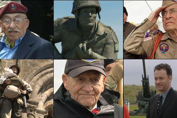De gauche à droite: Howard Manoian, la statue du major Winters, Gene Cook, le mannequin parachutiste de Sainte-Mere Eglise, Georges Klein et Tom Hanks