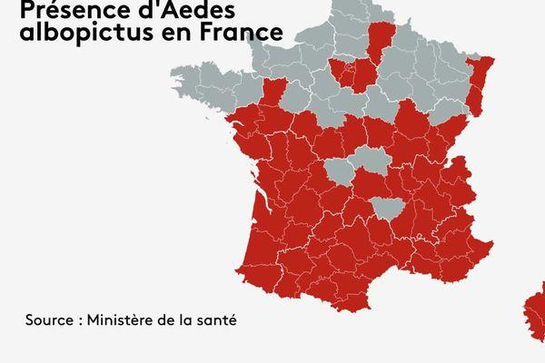 Au 1er janvier 2021, le moustique tigre a déjà colonisé 64 départements français de la métropole