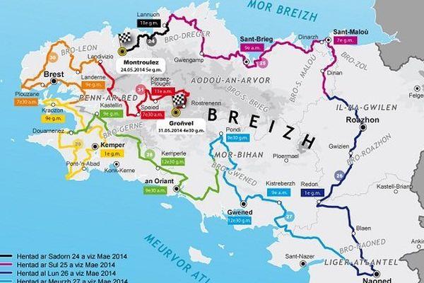 Parcours course Redadeg 2014