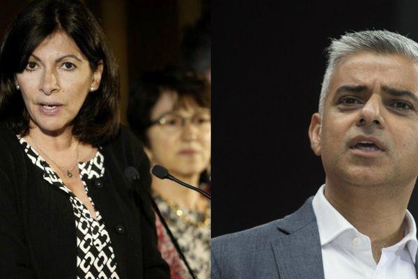 La maire PS de Paris Anne Hidalgo et le maire travailliste de Londres, Sadiq Khan.