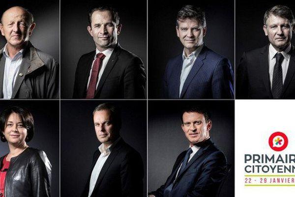 Les 7 candidats de la primaire de la gauche dont le premier tour a lieu le 22 janvier 2016