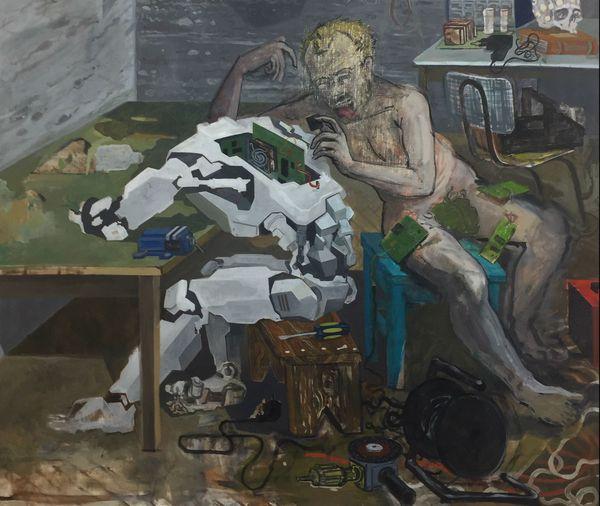 """Mi Kafchin, détail du tableau """"Alchemia"""", 2013, Huile sur toile"""