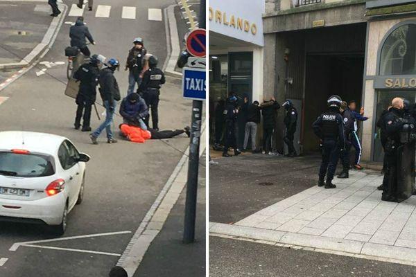 Interpellations dans les rues de Mulhouse, ce lundi matin.
