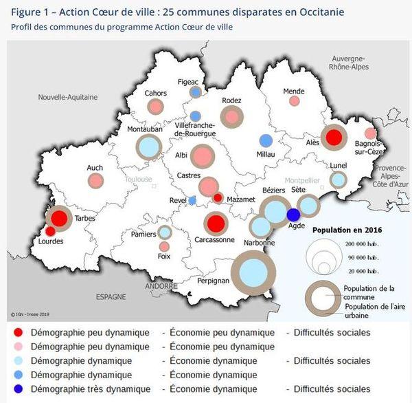 Action Cœur de ville : 25 communes disparates en Occitanie