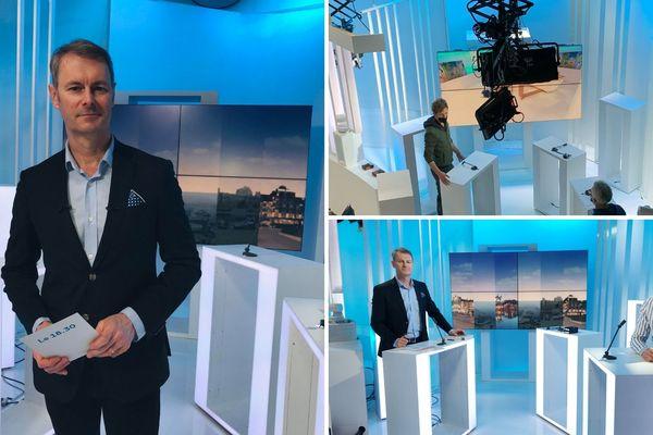 Emmanuel Faure réalise des tests dans le nouveau décor du 18.30 avec Paul Géli, journaliste présentateur de ce week-end