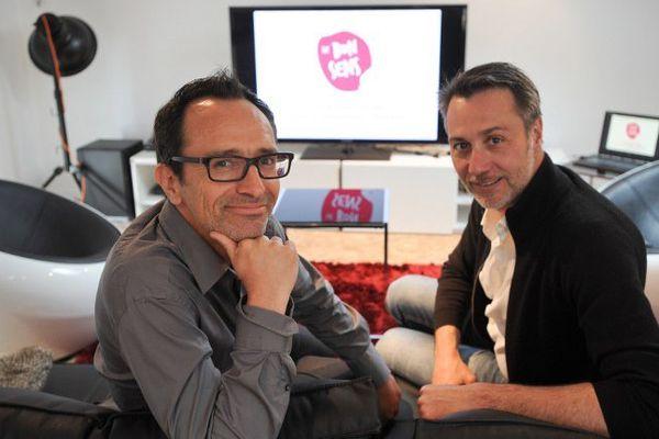 """Les créateurs du site """"Le bon sens""""  Fabien Ferdinandy et Laurent Graniereux (de gauche à droite)."""