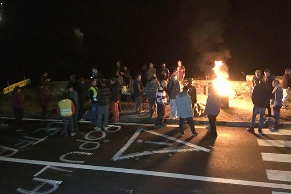 Les manifestants anti-ours ont passé la nuit sur la RN 134, installant un barrage filtrant. Ils voulaient interpeller un éventuel  convoi transportant les 2 ourses.
