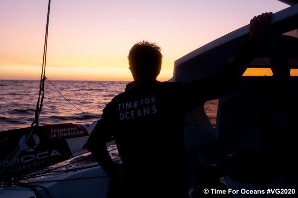 Le navigateur Stéphane Le Diraison à bord de Time for Oceans