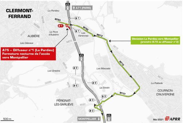 Lundi 17 mai, la circulation sera déviée sur l'autoroute A75, au sud de Clermont-Ferrand