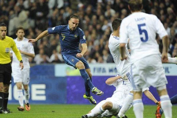Franck Ribéry a marqué le premier but face à la Finlande, mardi 15 octobre 2012, au Stade de France.