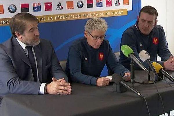 Montpellier - conférence de presse des responsables de l'équipe de France de rugby féminin pour annoncer la composition pour le tournoi des 6 Nations - 16 janvier 2019.