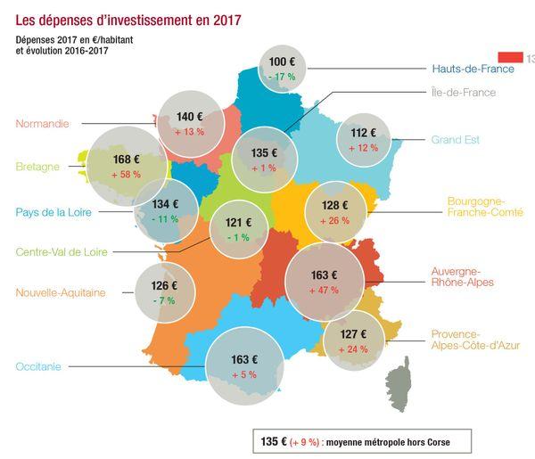 Dépenses réelles d'investissement 2017 en euros par habitant
