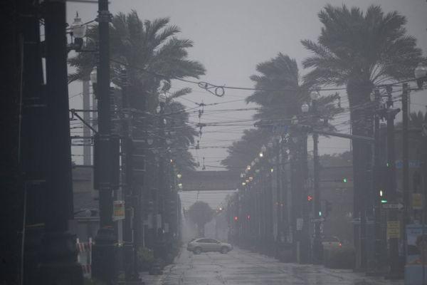 Canal Street, Nouvelle Orléans (USA) pendant le passage de l'ouragan Ida le 29 août 2021