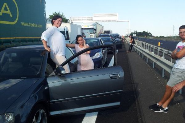 A.9 - des automobilistes bloqués entre Montpellier et Sète - 31 juillet 2014.