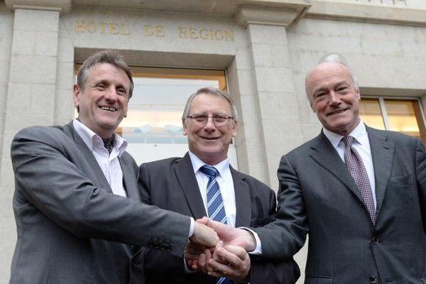 Jean-Marie Macaire président de Poitou-Charentes, Gérard Vandenbroucke président de Limousin, et Alain Rousset président d'Aquitaine lors de leur première réunion de travail le 8 décembre 2014.