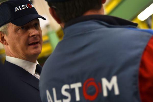 Visite du ministre de l'économie et des finances, chez Alstom, Petite Foret en septembre 2017