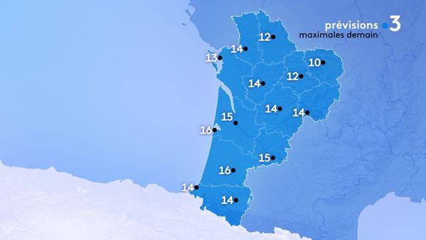 Les températures maximales seront comprises entre 10 degrés à Guéret et 16 degrés le maximum à Arcachon et Mont de Marsan...