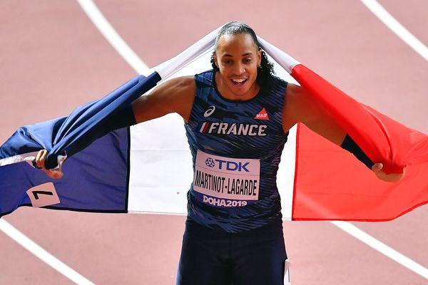 Pascal Martinot-Lagarde, médaille de bronze du 110 mètres haies aux mondiaux d'athlétisme de Doha (2019).