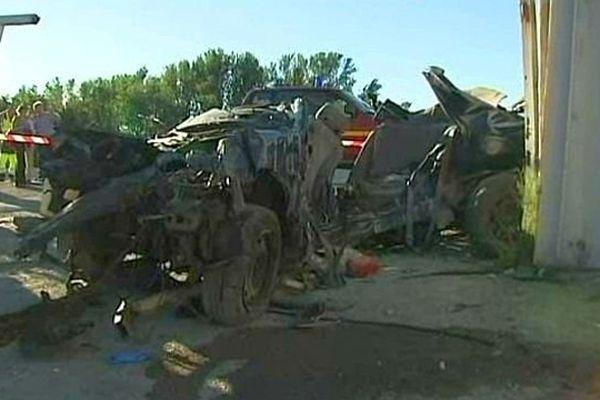 Trèbes (Aude) - 5 morts et 1 blessé très grave dans un accident sur le route de Carcassonne - 10 août 2013.