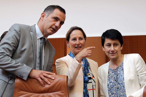 Fabienne Giovannini (à droite) en 2016 aux côtés de Gilles Simeoni et Ségolène Royal