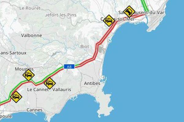 7 kilomètres de bouchons se sont formés ce mardi matin entre Antibes et Nice.