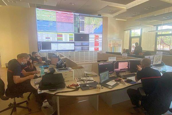 Montpellier - la salle opérationnelle du SDIS de l'Hérault - août 2021.