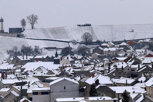 Le village de Verzenay (Marne) sous la neige, en mars 2018 (photo d'illustration).