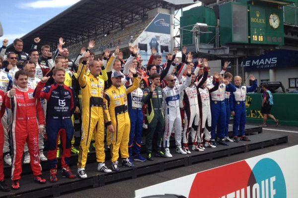 Photo collective mardi pour l'ensemble des pilotes de la 85e édition des 24 Heures du Mans.