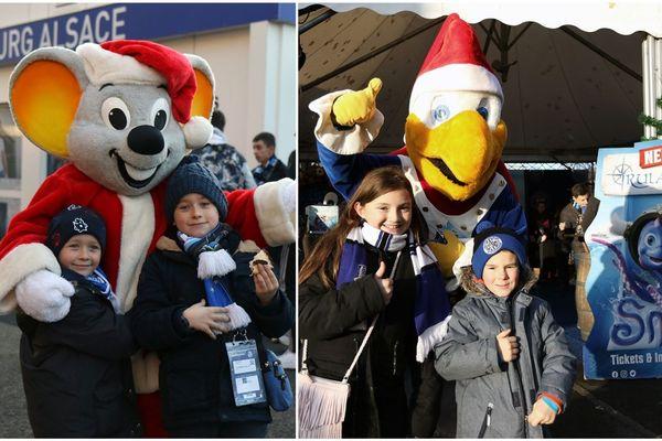Les mascottes d'Europa Park accueillent les fans du Racing Club de Strasbourg Alsace (RCSA) et les font jouer pour gagner des entrées à Rulantica, le nouveau parc aquatique.
