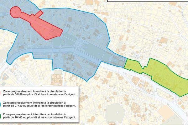 Pour le défilé militaire, un périmètre de restrictions de circulation est mis en place pour la journée du 14 juillet